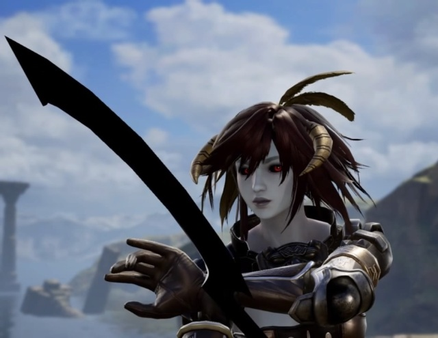 Brelyna Maryon from Skyrim. Vampire Armor. Forsworn Headdress. Dark Elf. Made using Creation mode in Soulcalibur 6. benjaminfrog.com