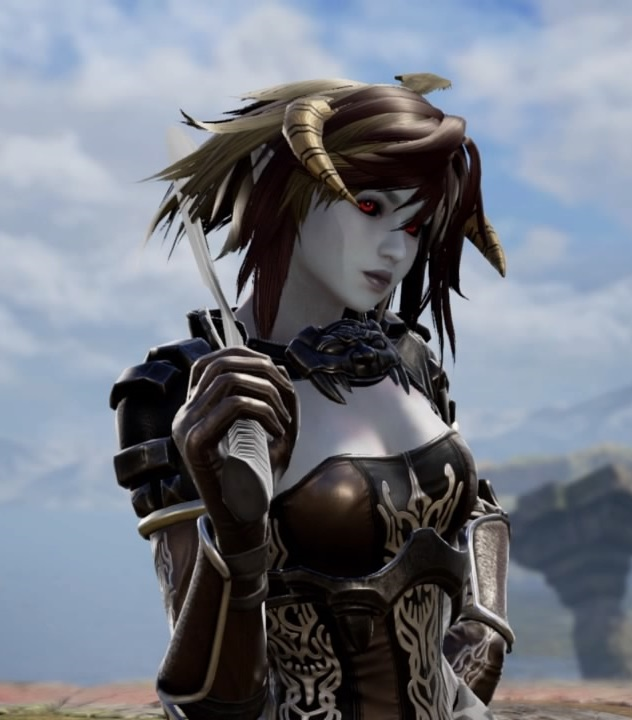 Brelyna Maryon from Skyrim. Vampire Armor. Forsworn Headdress. Dark Elf. Made using Creation mode in Soulcalibur 6. benjaminfrog.com
