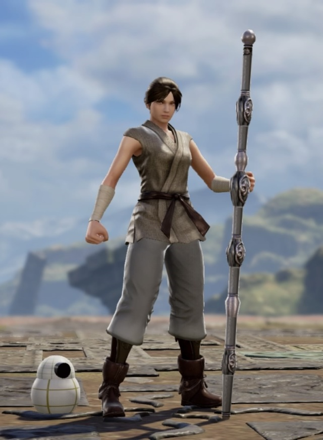Rey with BB-8 from Star Wars. Made using Creation mode in Soulcalibur 6. benjaminfrog.com